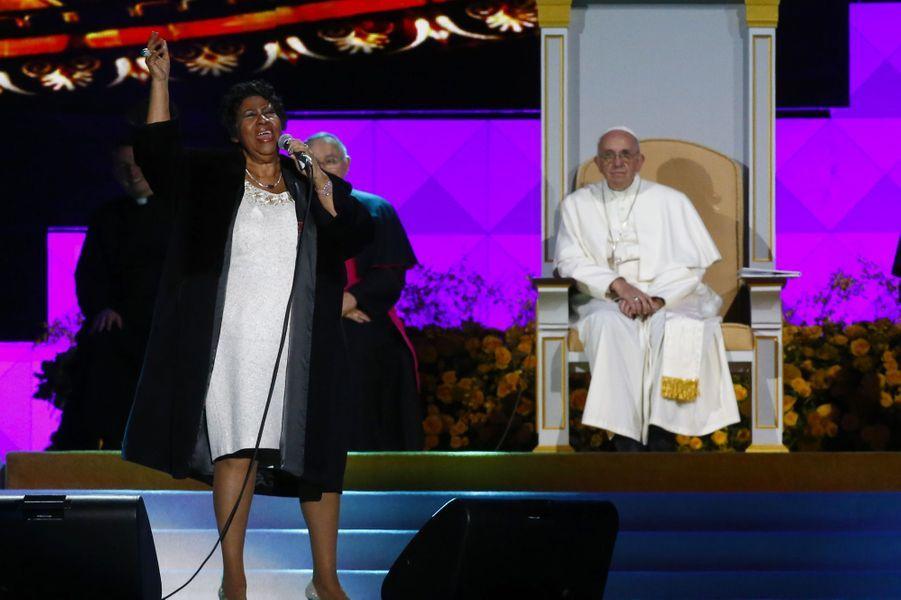 Aretha Franklin chante devant le pape Françoisà Philadelphie,en septembre 2015.
