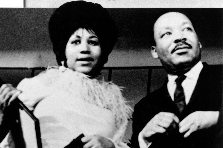Aretha Franklin et Martin Luther King, dans les années 1960.