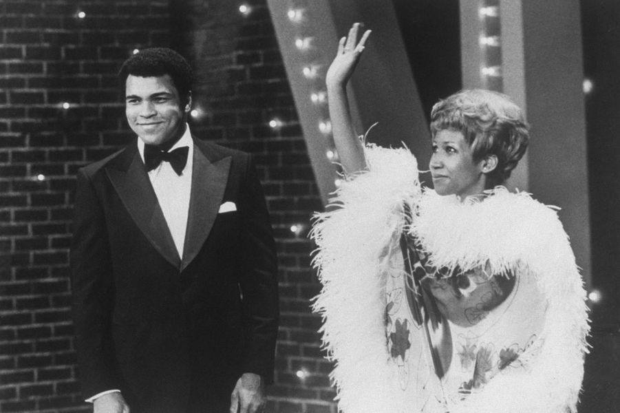 Aretha Franklin et Mohamed Ali en 1975 pour 'The Muhammad Ali Variety Special'.
