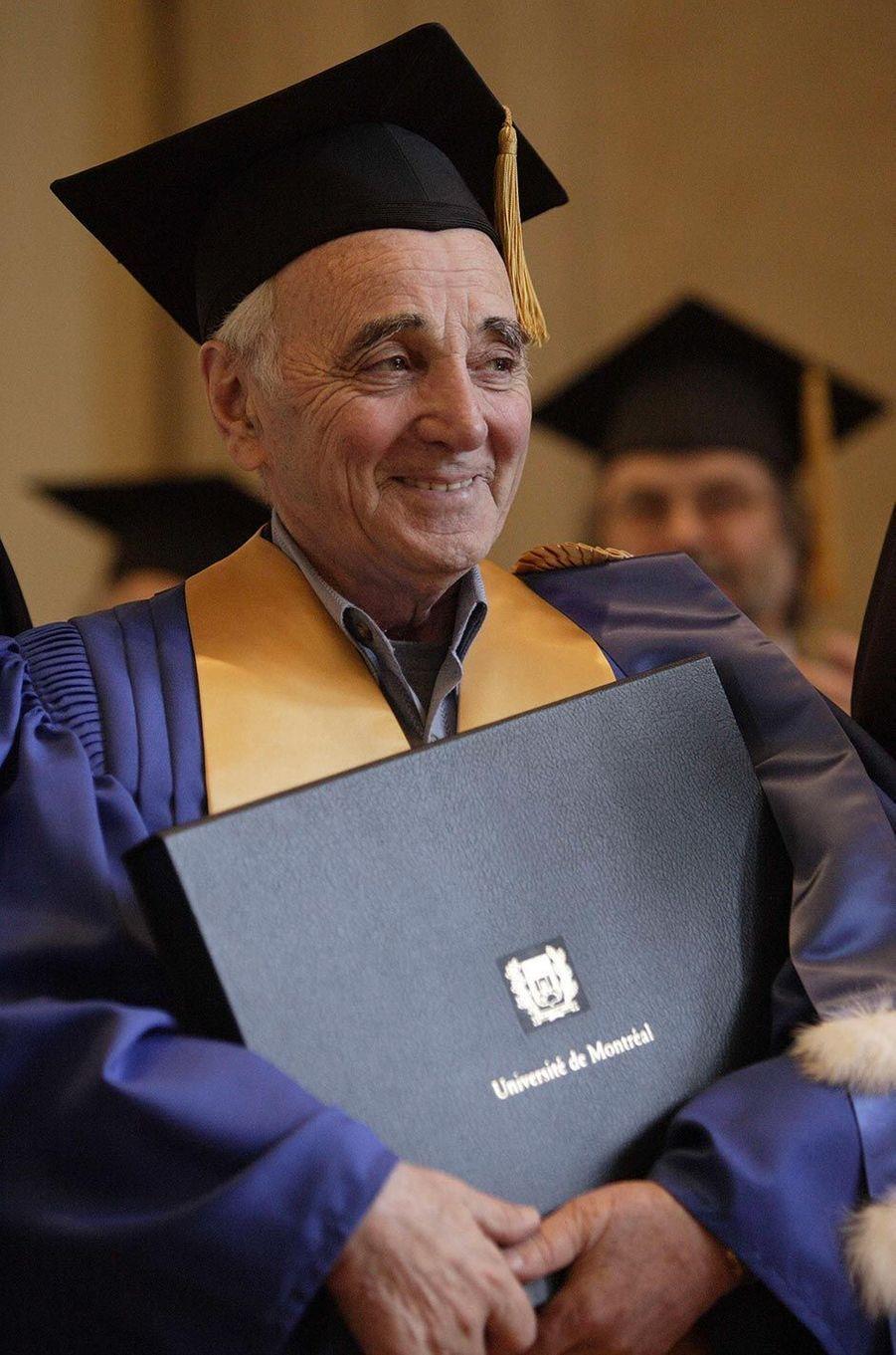 Charles Aznavour à l'Université de Montréal, en août 2009.