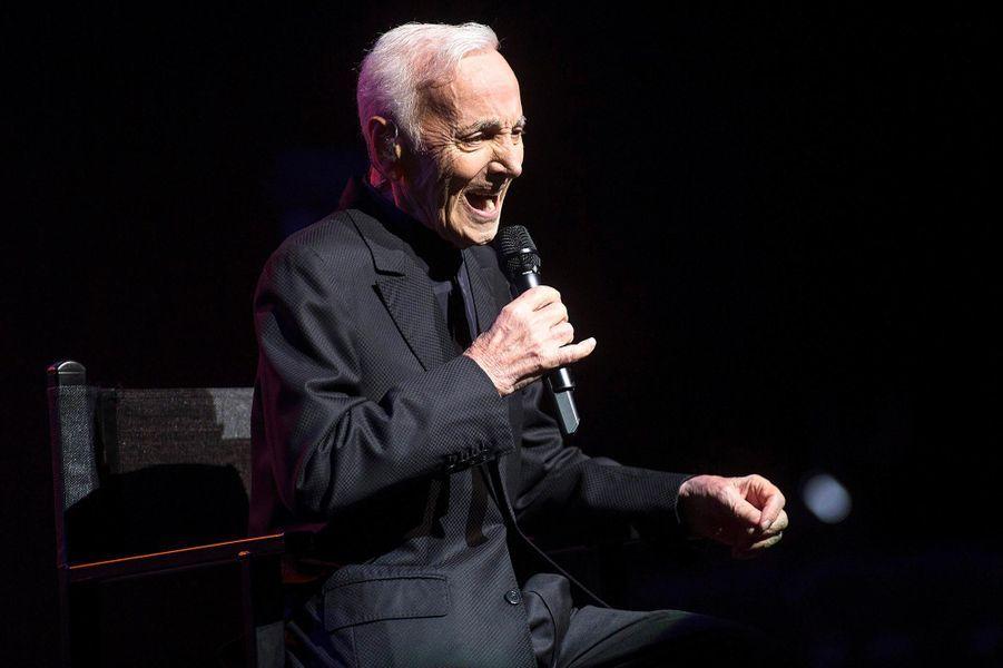 Charles Aznavour à Barcelone, en avril 2018.