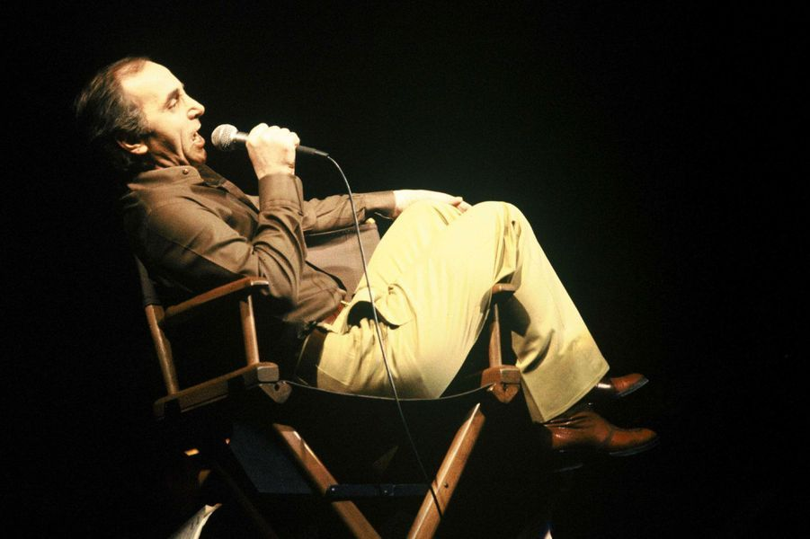Ici, Charles Aznavour lors d'un concert a l'Olympia en 1978.