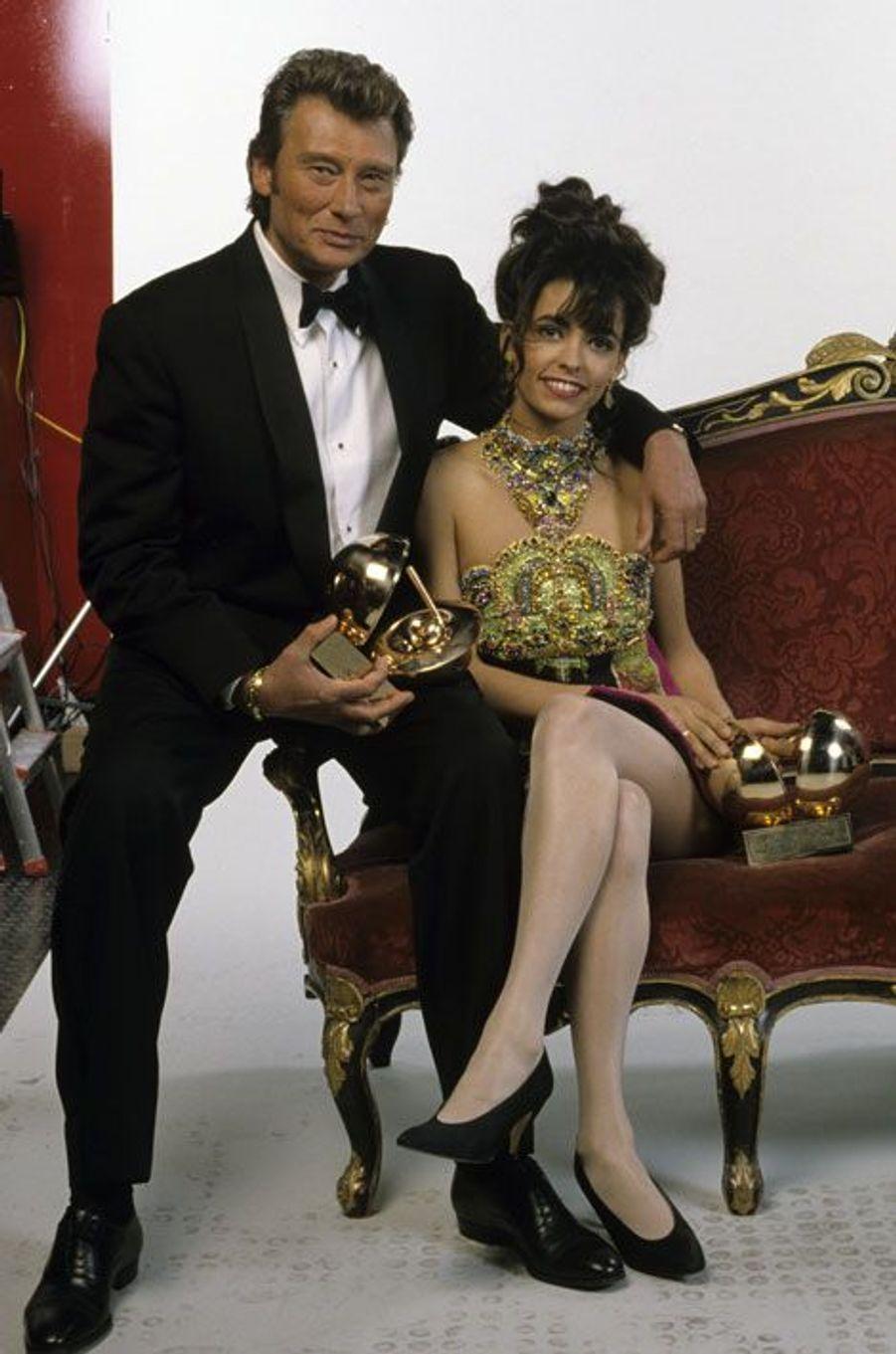 Johnny Hallyday et Adeline Blondiau
