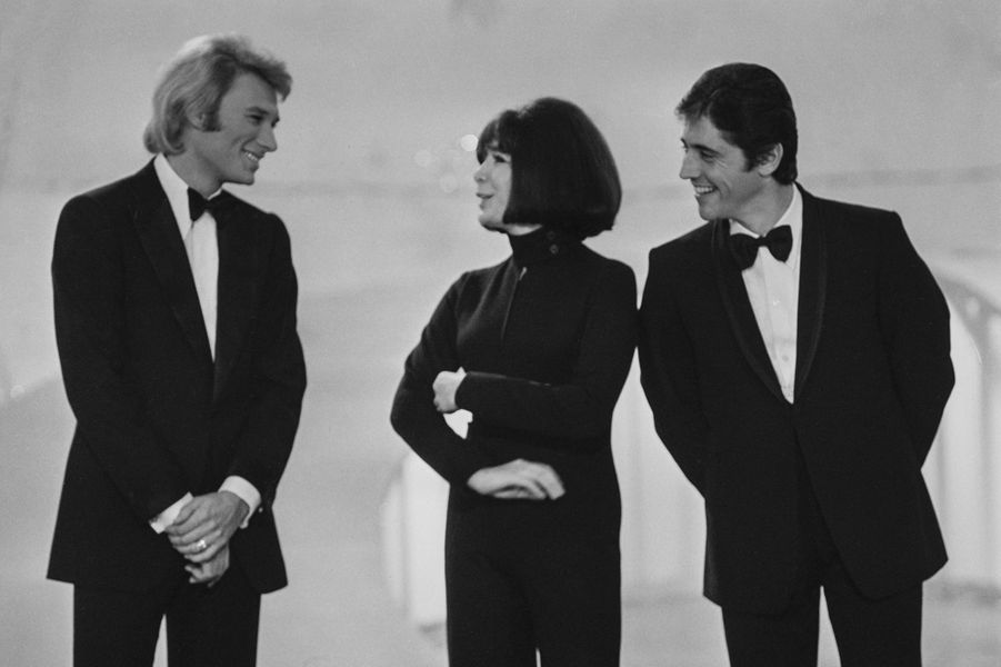 Johnny Hallyday, Juliette Gréco et Sacha Distel en 1968