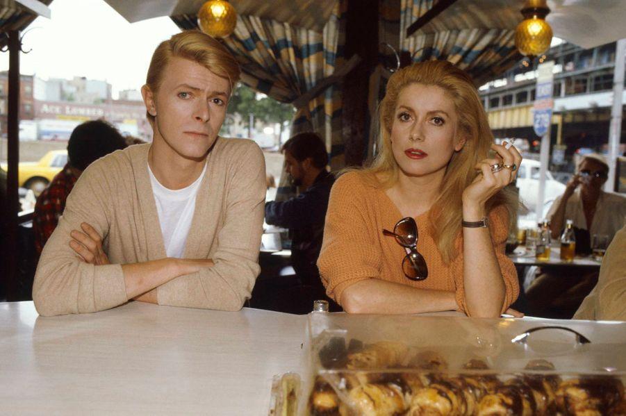 """Avec Catherine Deneuve, lors du tournage des """"Prédateurs"""" en 1982"""