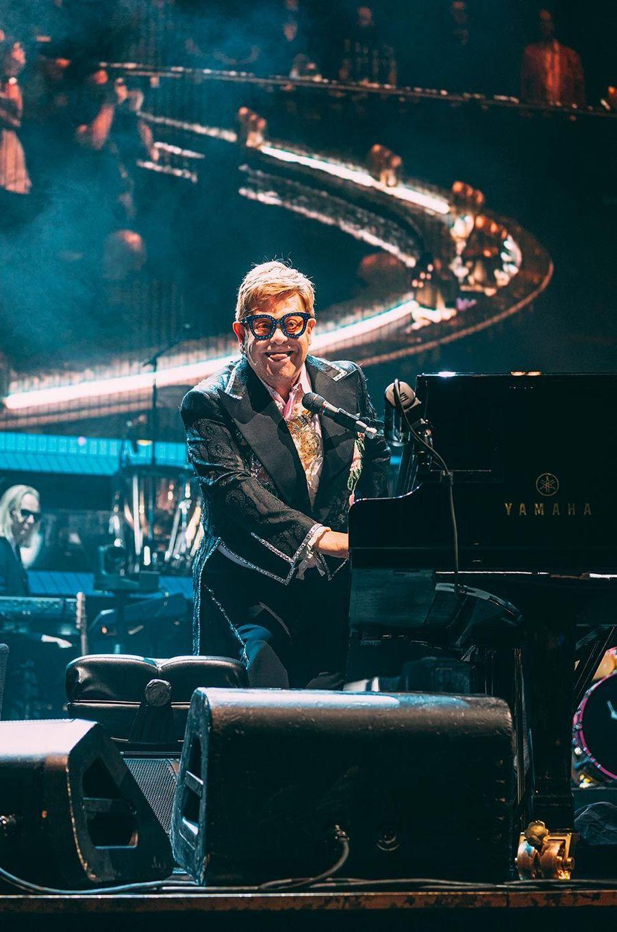 Elton John en concert à l'AccorHotels Arena de Paris, le 20 juin 2019.