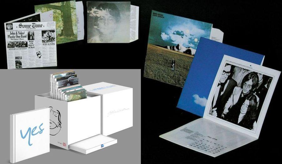 """A l'occasion des 70 ans de la naissance du chanteur des Beatles, et des 30 ans de la mort de John Lennon, sa maison de disque EMI publie ses albums solos remasterisés. Tous sont réunis dans la """"John Lennon Signature Box"""", un coffret de 11 CD (également disponible en téléchargement légal) comprenant les huit albums remastérisés, des enregistrements rares et inédits, et des singles, ainsi que des photos rares, des dessins, et des textes."""