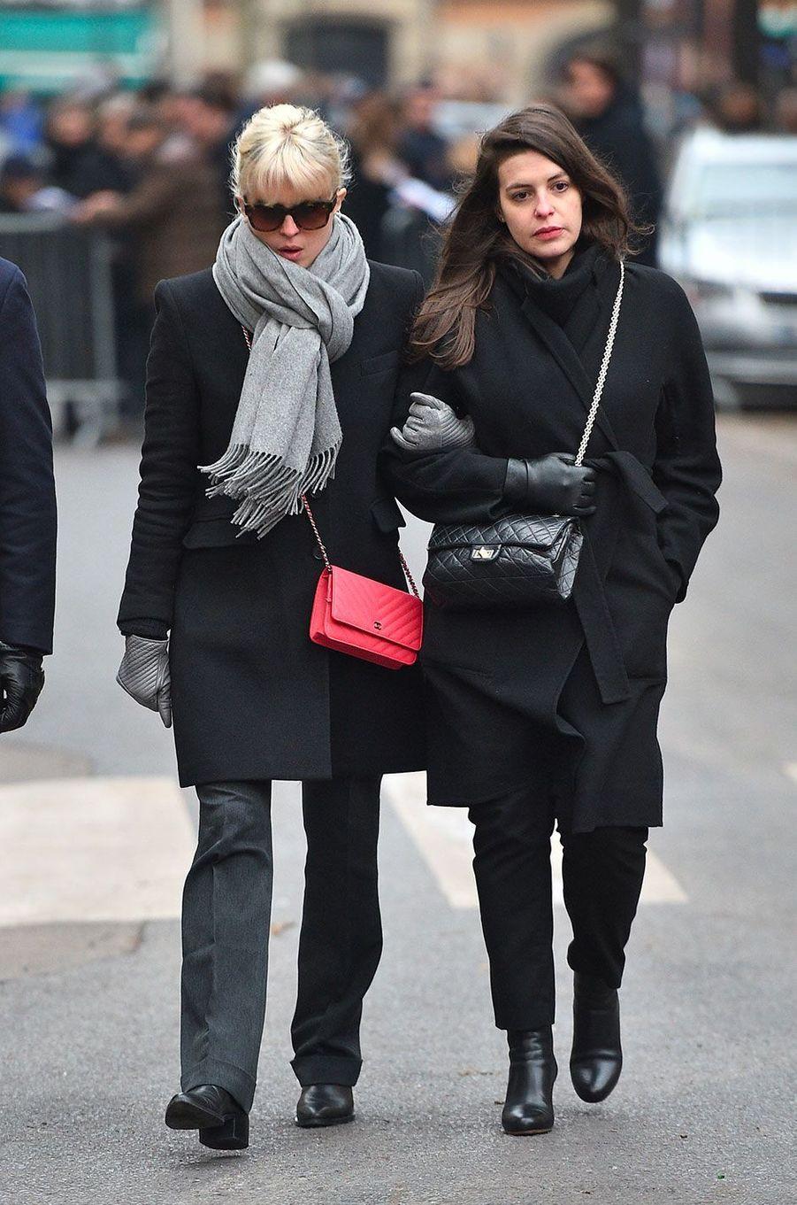 Cécile Cassel arrivant aux obsèques de France Gall à Paris, le 12 janvier 2018.