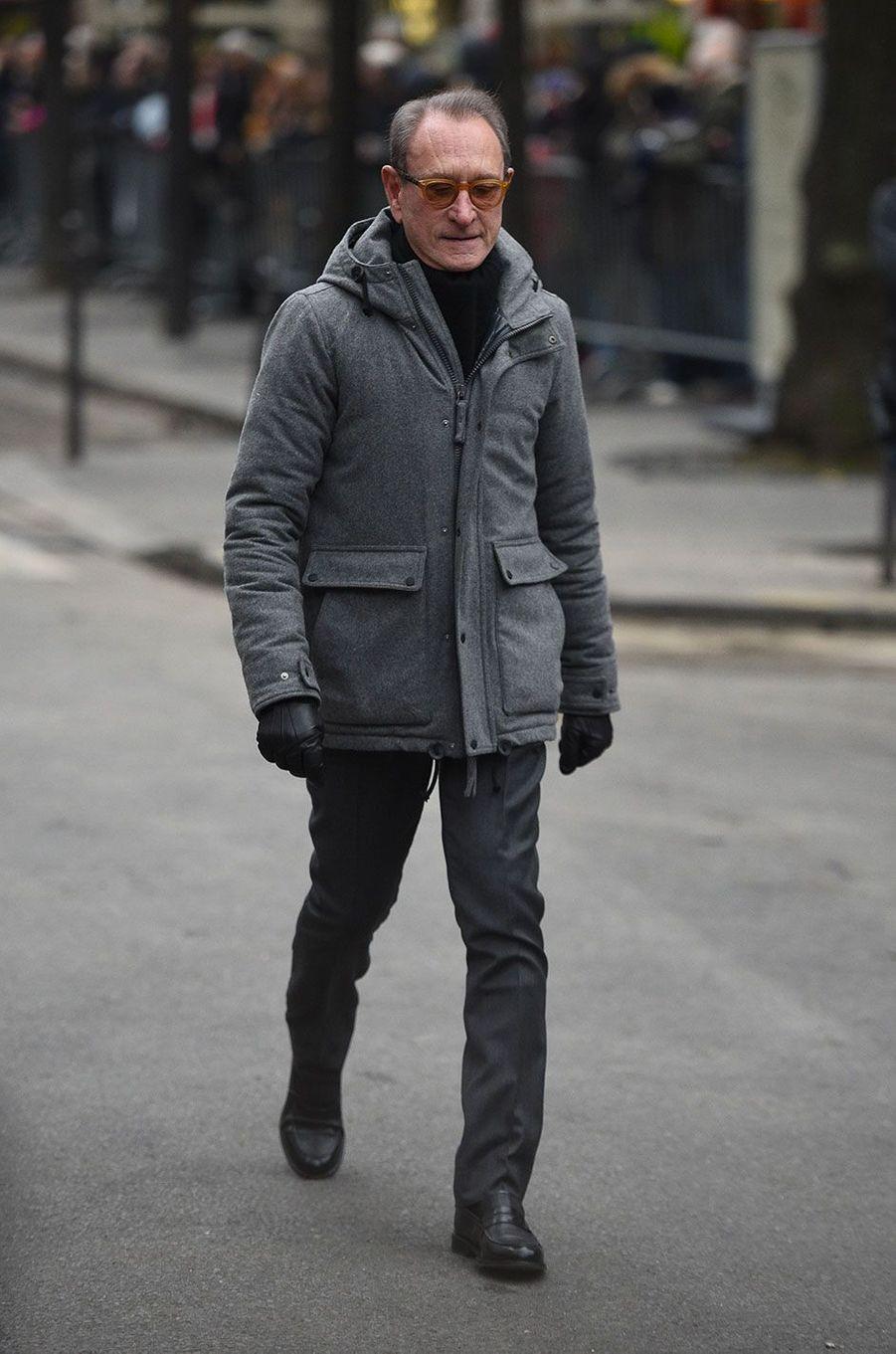 Bertrand Delanoë arrivant aux obsèques de France Gall à Paris, le 12 janvier 2018.