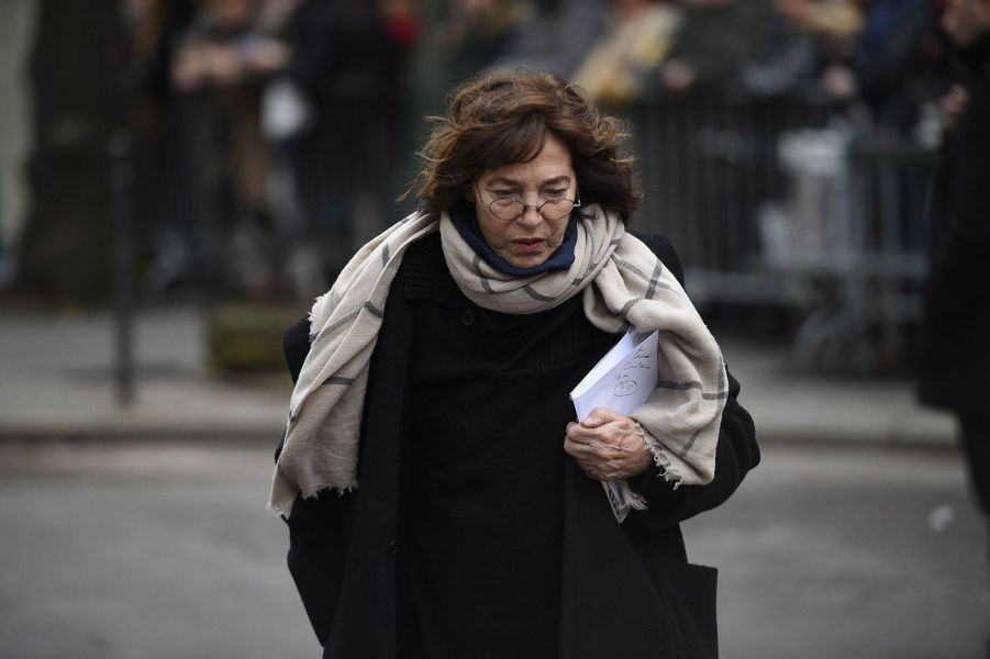 Jane Birkin arrivant aux obsèques de France Gall à Paris, le 12 janvier 2018.