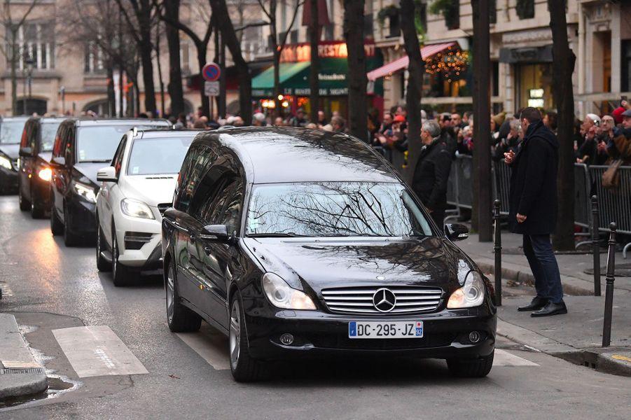 Aux obsèques de France Gall à Paris, le 12 janvier 2018.