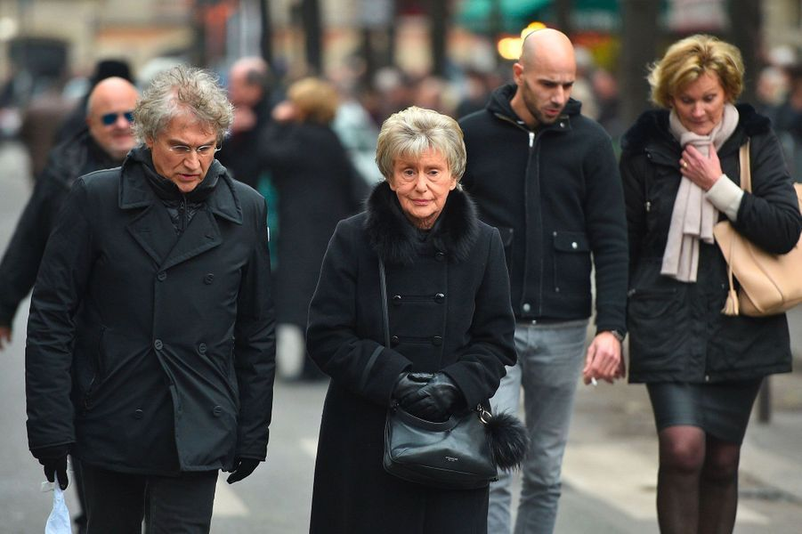 Monique Le Marcisarrivant aux obsèques de France Gall à Paris, le 12 janvier 2018.