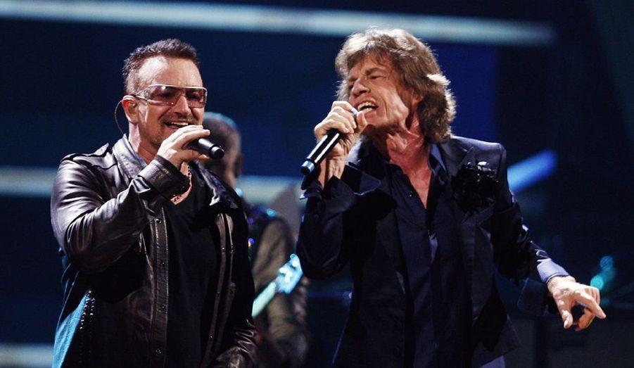 Le leader de U2 et celui des Rolling Stones en duo.
