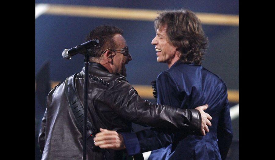 Bono & Mick Jagger: Le chanteur irlandais et le rockeur anglais sont bons amis.