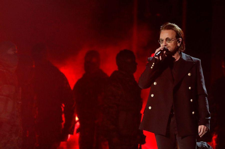 U2 à la cérémonie des Grammy Awards.