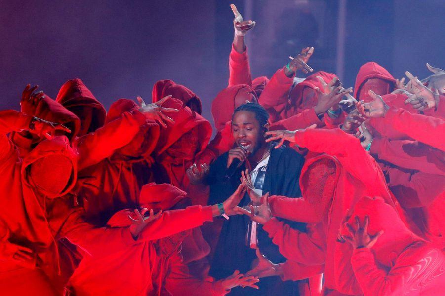 Kendrick Lamarà la cérémonie des Grammy Awards.