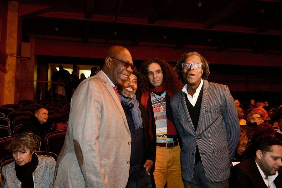 Aux côtés du chanteur angolais Lulendo et de l'animateur de RFI Soro Solo (à dr.).