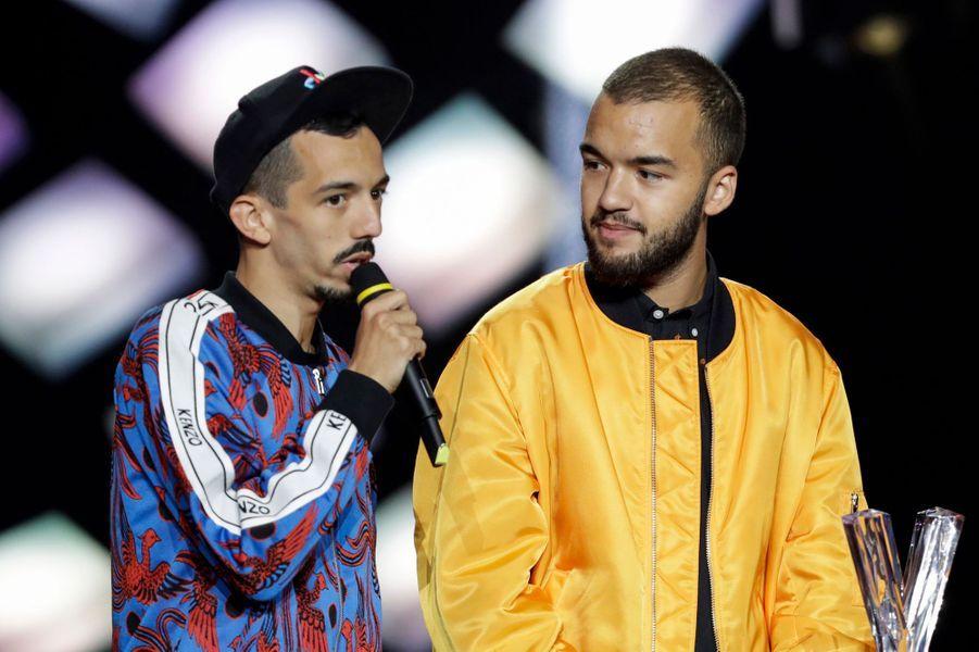 """Artiste masculin:Bigflo & Oli. Ils remporteront aussi la victoire de l'Album de musiques urbaines pour """"La vie de rêve""""."""
