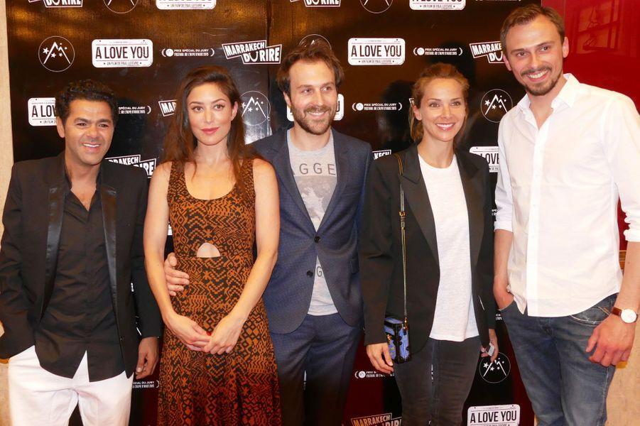"""Jamel avec les acteurs de """"A Love You"""", Paul Lefèvre, Antoine Gouy et Fanny Valette"""