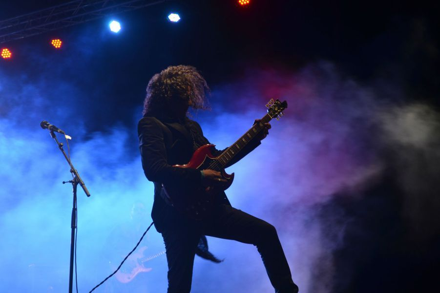 Jbara, référence du rock marocain,Festival international des Nomades à M'hamid El Ghizlane, Zagora, Maroc. Mars 2017.