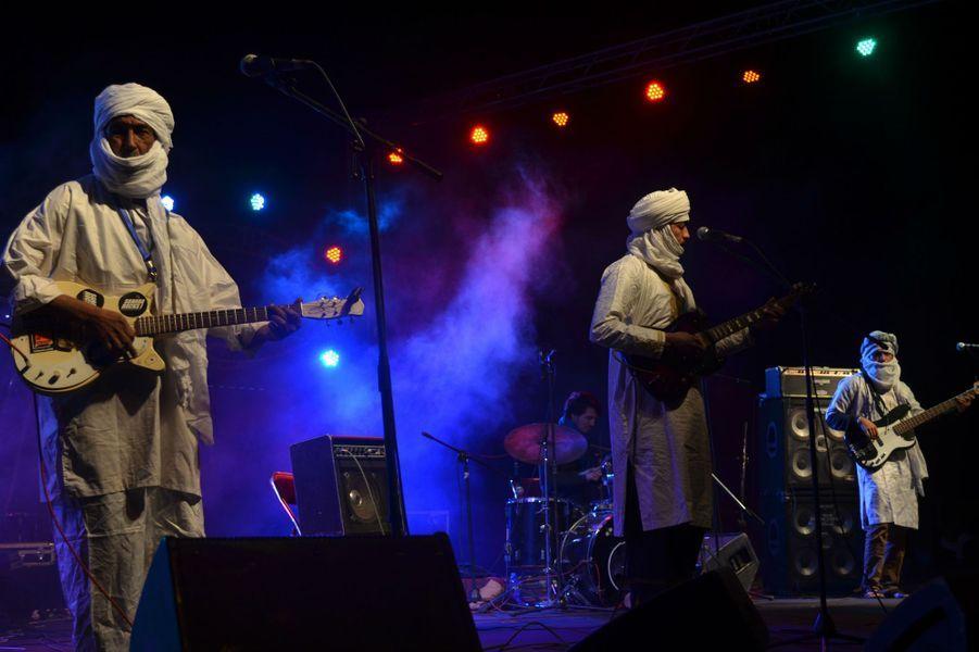 Diarra et Sanou du groupe Terakaftau Festival international des Nomades à M'hamid El Ghizlane, Zagora, Maroc. Mars 2017.