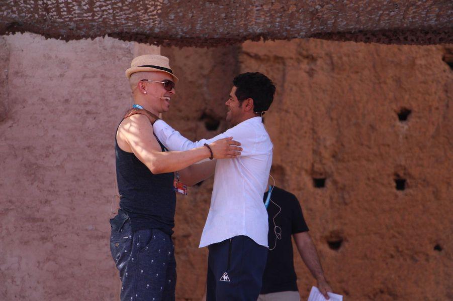 Jamel Debbouze avec Rachid Badouri lors des répétitions du gala du Marrakech du rire 2017, le 30 juin 2017 à Marrakech.