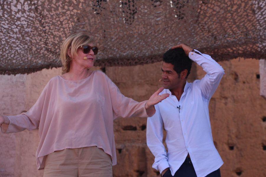 Jamel Debbouze avec Chantal Ladesou lors des répétitions du gala du Marrakech du rire 2017, le 30 juin 2017 à Marrakech.