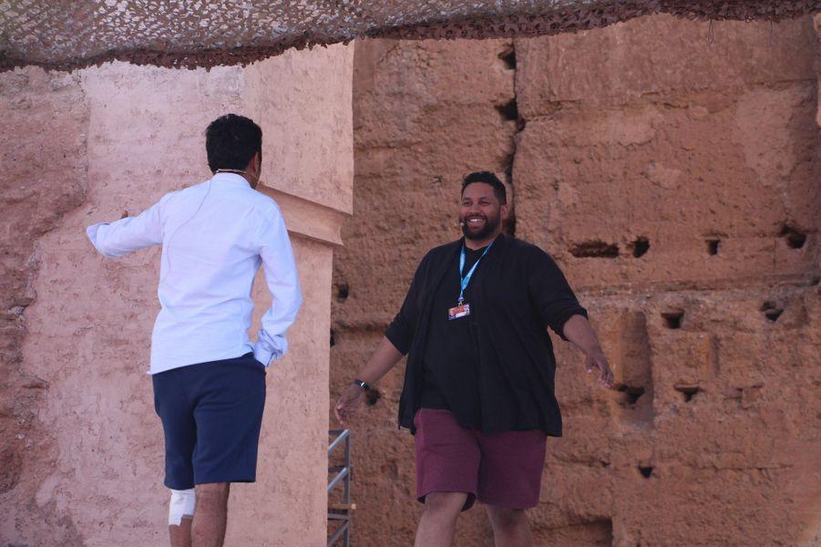 Jamel Debbouze avec Kevin Razy lors des répétitions du gala du Marrakech du rire 2017, le 30 juin 2017 à Marrakech.