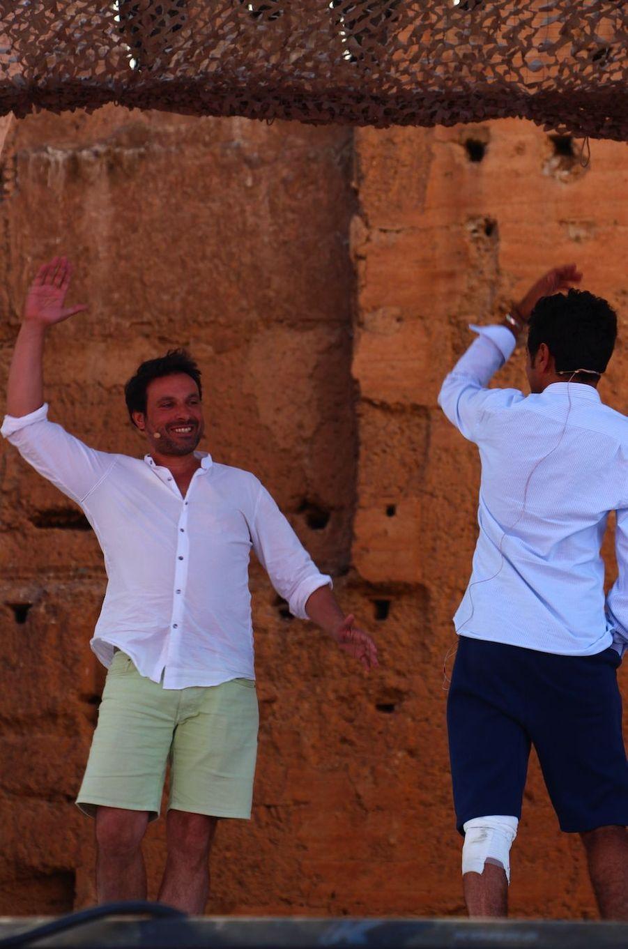 Jamel Debbouze avec Bruno Salomone lors des répétitions du gala du Marrakech du rire 2017, le 30 juin 2017 à Marrakech.