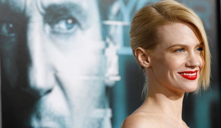 """January Jones, à l'avant-première du thriller """"Sans identité"""", au Mann Village theatre de Los Angeles."""