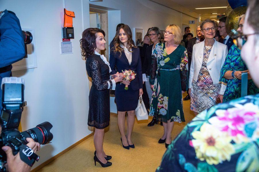 La princesse Sofia de Suède à une inauguration à l'hôpital Karolinska à Solna, le 5 octobre 2018