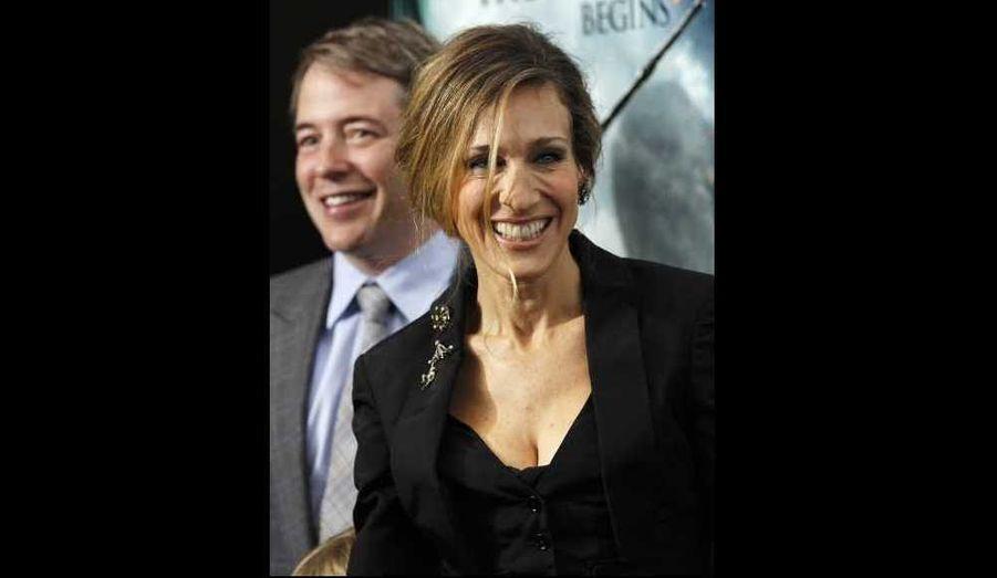 Sarah Jessica Parker et son mari Matthew Broderick à la première new yorkaise de Harry Potter et les reliques de la mort.