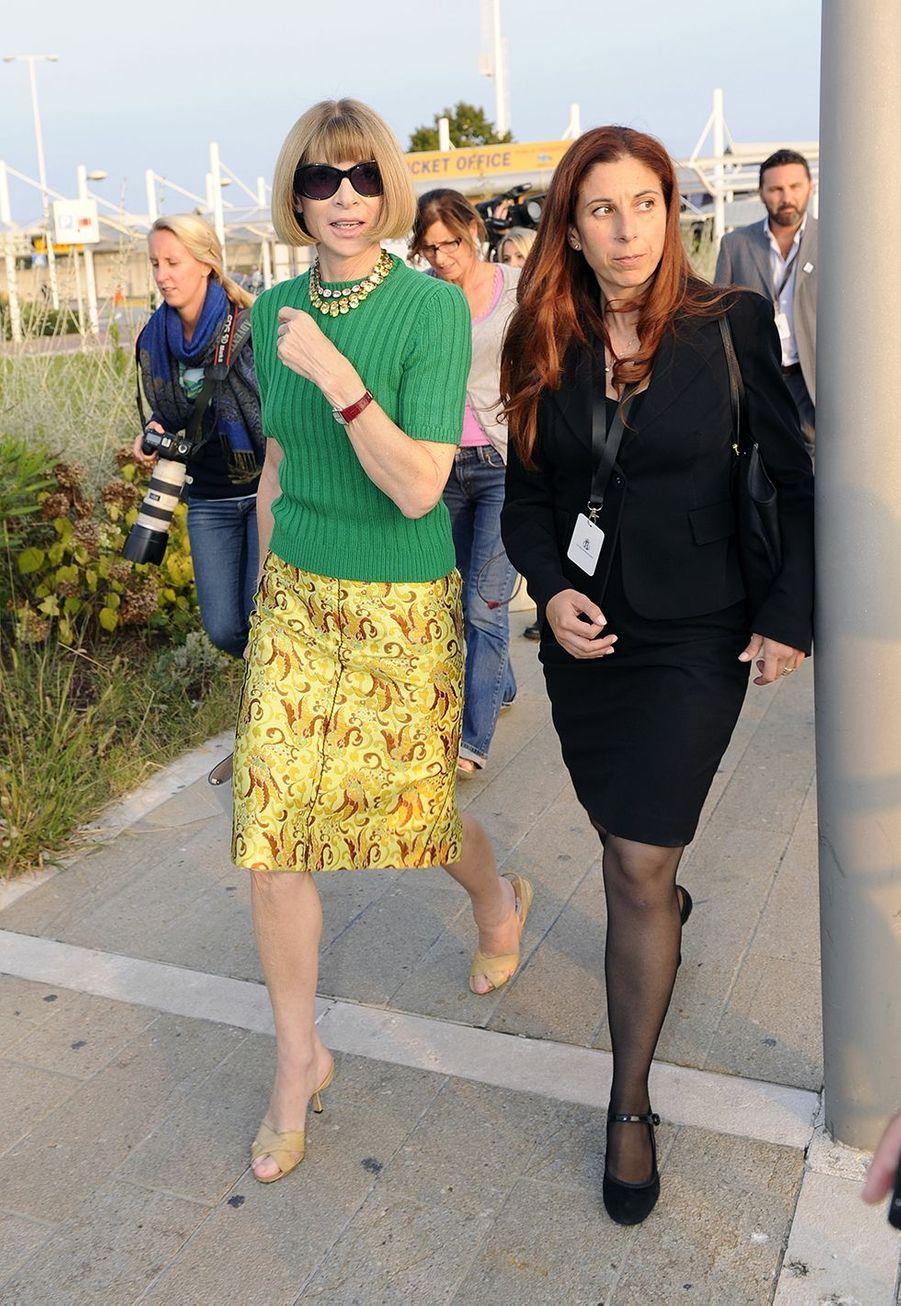 Anna Wintourarrive à Venise pour le mariage de George et Amal Clooney en 2014.