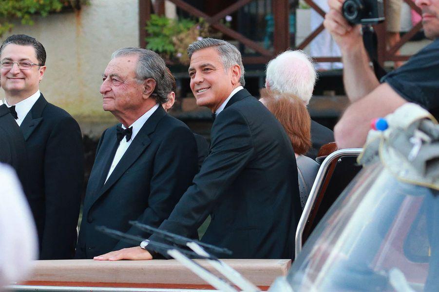 George Clooney se rend à son mariage avecAmal Alamuddin à Venise en 2014.
