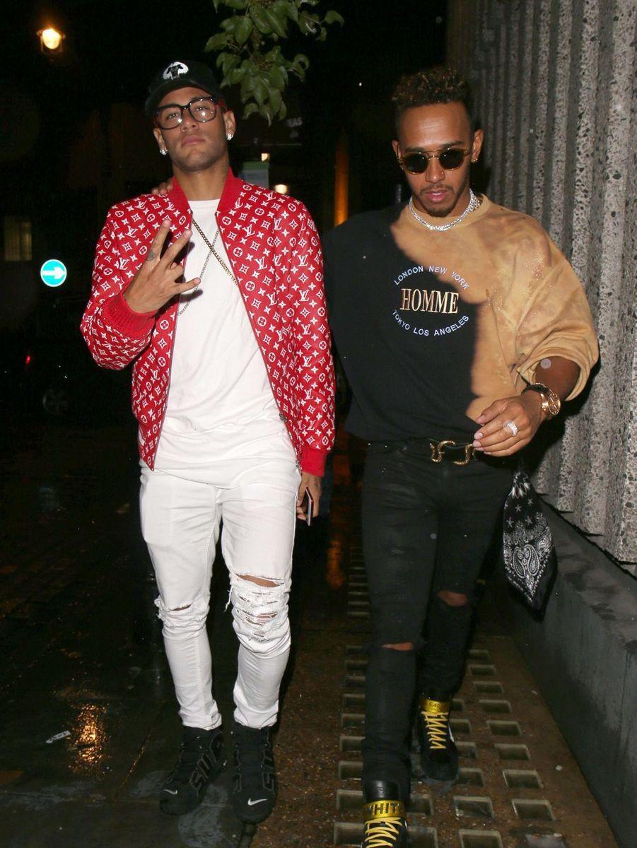 Neymar et Lewis Hamilton à Londres