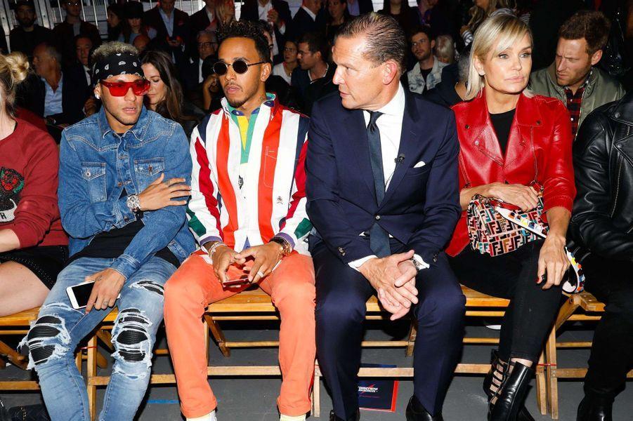 Neymar, Lewis Hamilton,Daniel Grieder et Yolanda Hadid