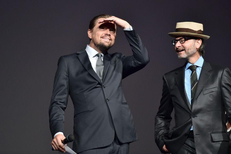 Leonardo DiCaprio et Fisher Stevens pour la première à Paris de «Before the Flood». o