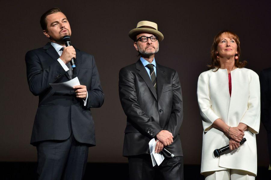 Leonardo DiCaprio, Fisher Stevens et Ségolène Royal.