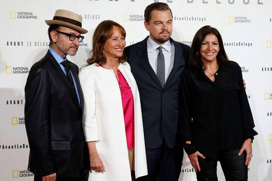 Fisher Stevens, Ségolène Royal, Leonardo DiCaprio et Anne Hidalgo.