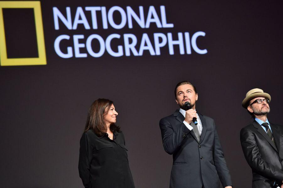 Leonardo DiCaprio,Anne Hidalgo et Fisher Stevens.