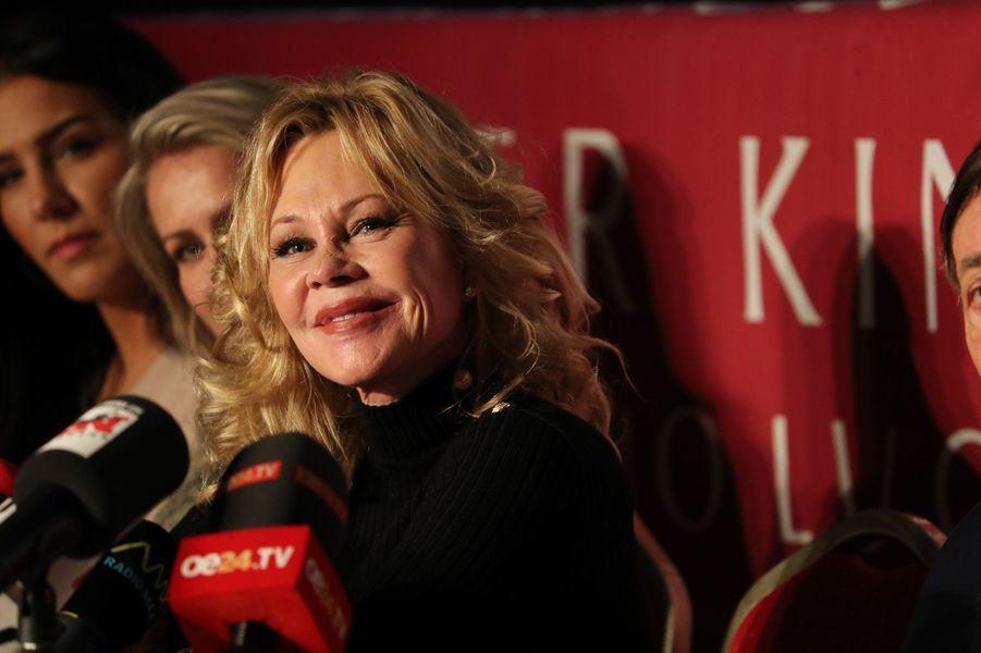Melanie Griffith à la conférence de presse pour le bal de l'Opéra de Vienne 2018, le 7 février 2018.
