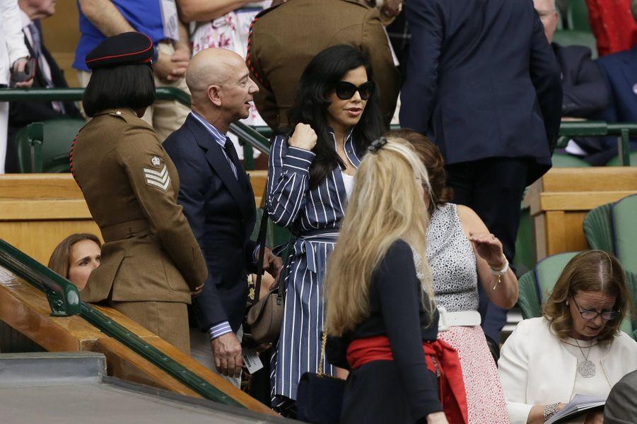 Lauren Sanchez et Jeff Bezos à Wimbledon le 14 juillet 2019