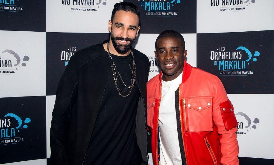 Adil Rami et Rio Mavuba au concert caritatif «Une nuit à Makala» à Lille le 19 mars 2019
