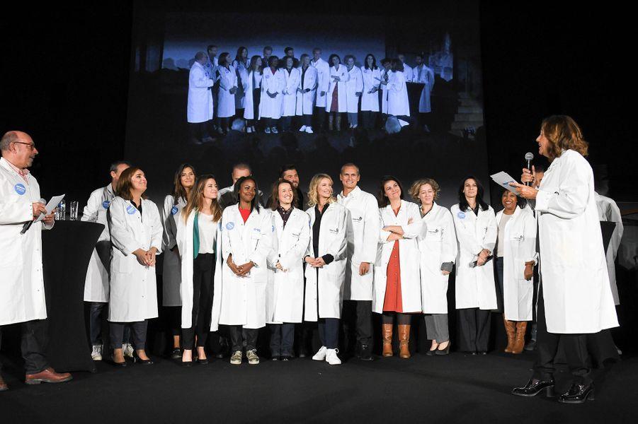 Camille Cerf, Anne Roumanoff, Christophe Beaugrand, Alexandra Lamy, Louis Laforge, Marie Drucker lors du lancement de la 13ème édition du Pasteurdon à Paris le mercredi 9 octobre 2019.