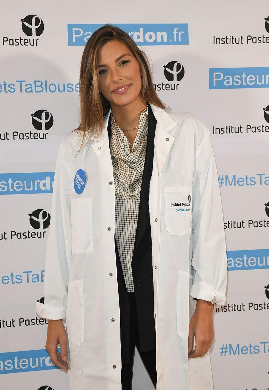 Camille Cerf lors du lancement de la 13ème édition du Pasteurdon à Paris le mercredi 9 octobre 2019.
