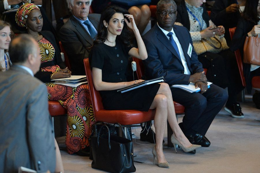 Amal Clooney et Denis Mukwege au siège des Nations unies à New York le 23 avril 2019