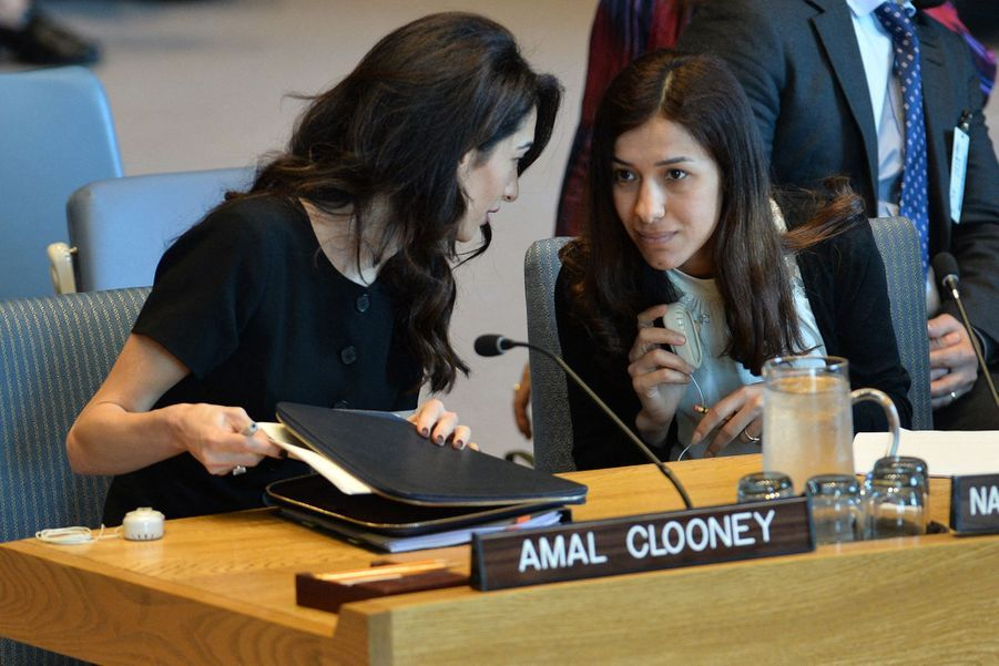Amal Clooney et Nadia Murad au siège des Nations unies à New York le 23 avril 2019