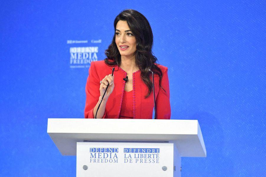 Amal Clooney lors de la première journée de la «Global Conference for Media Freedom» à Londres le 10 juillet 2019