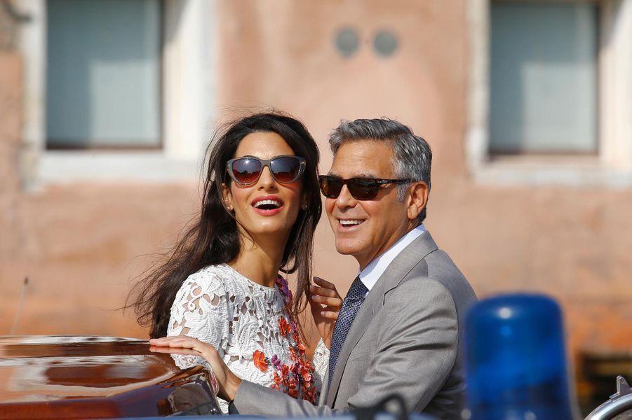 George et Amal Clooney le jour de leur mariage à Venise