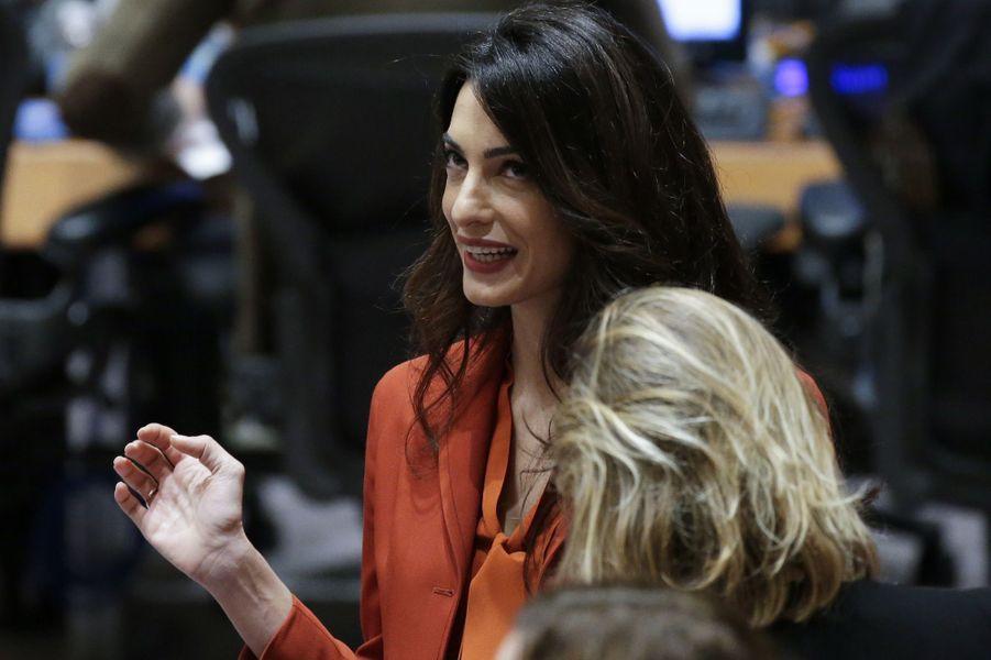 Amal Clooney au Conseil de sécurité de l'ONU, à New York.